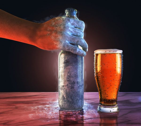 Ice cold beer, ice cold hand